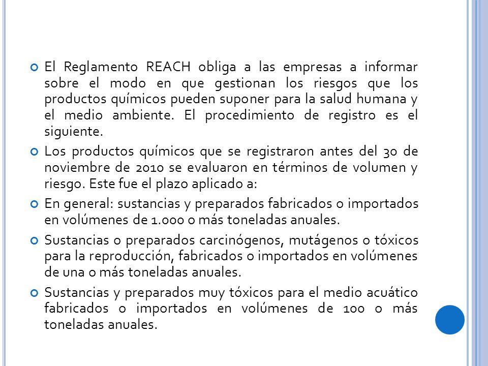 El Reglamento REACH obliga a las empresas a informar sobre el modo en que gestionan los riesgos que los productos químicos pueden suponer para la salud humana y el medio ambiente. El procedimiento de registro es el siguiente.