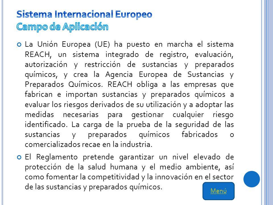 Sistema Internacional Europeo Campo de Aplicación