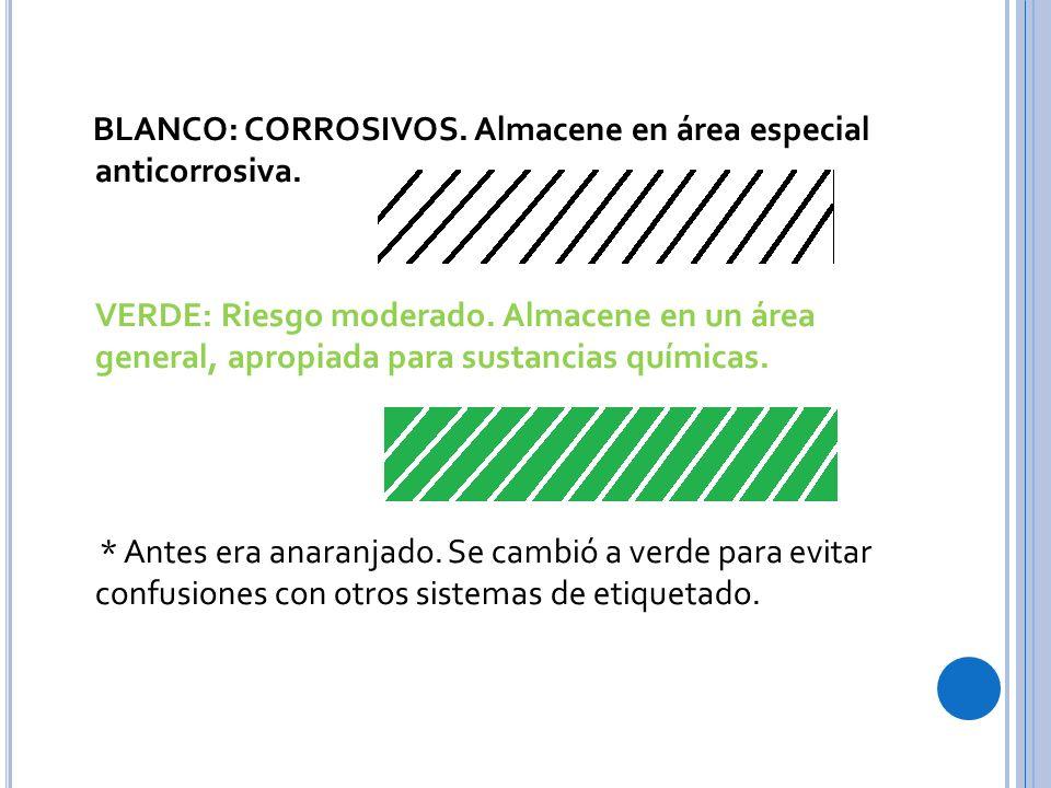BLANCO: CORROSIVOS. Almacene en área especial anticorrosiva.