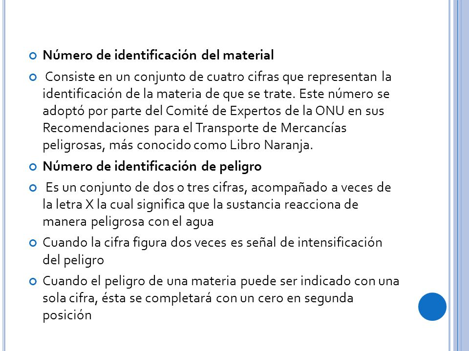 Número de identificación del material