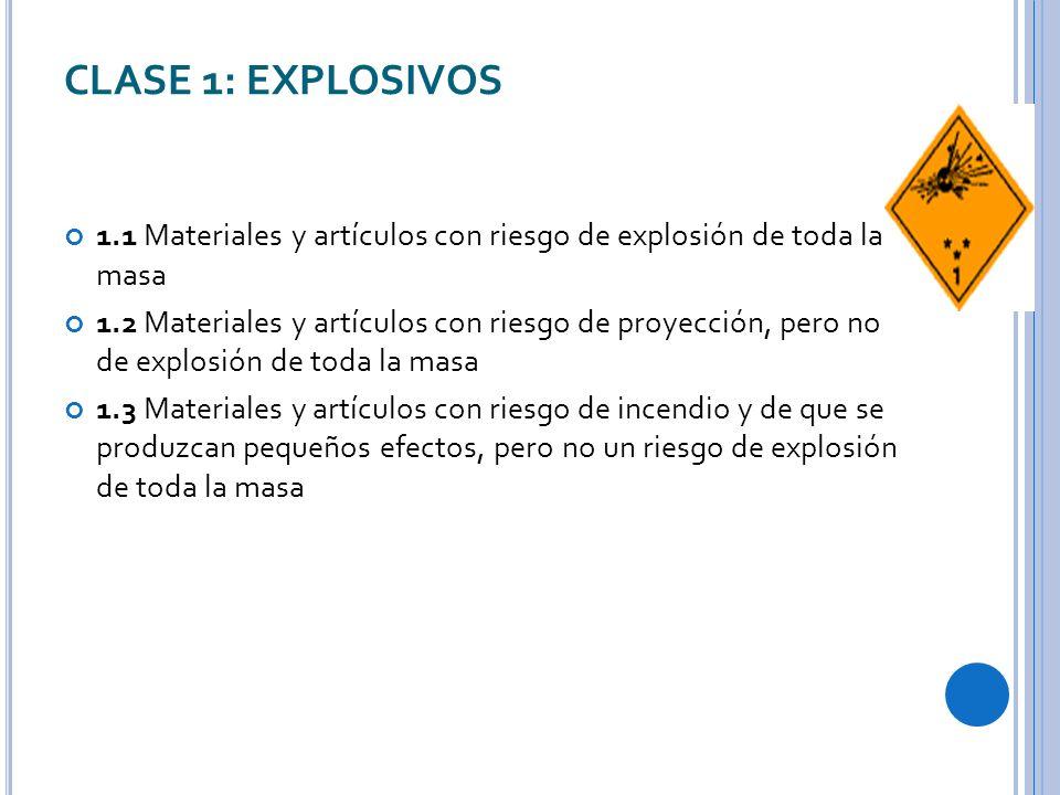 CLASE 1: EXPLOSIVOS 1.1 Materiales y artículos con riesgo de explosión de toda la masa.