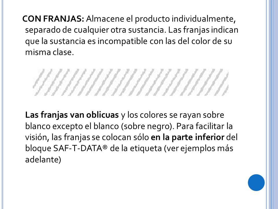 CON FRANJAS: Almacene el producto individualmente, separado de cualquier otra sustancia.