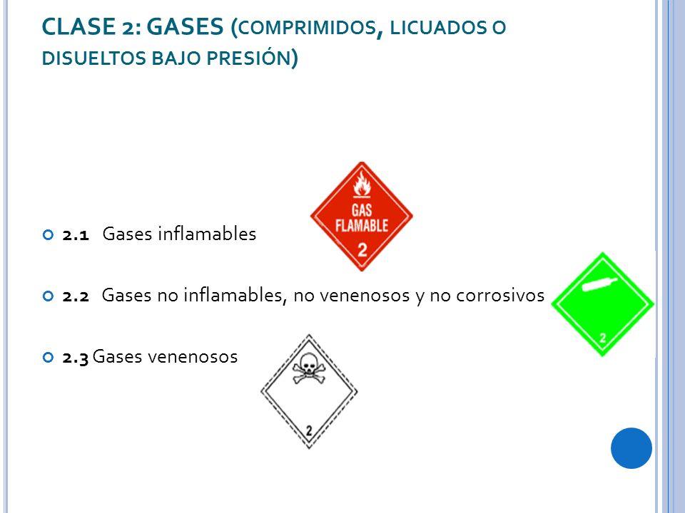 CLASE 2: GASES (comprimidos, licuados o disueltos bajo presión)