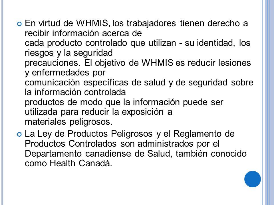 En virtud de WHMIS, los trabajadores tienen derecho a recibir información acerca de cada producto controlado que utilizan - su identidad, los riesgos y la seguridad precauciones. El objetivo de WHMIS es reducir lesiones y enfermedades por comunicación específicas de salud y de seguridad sobre la información controlada productos de modo que la información puede ser utilizada para reducir la exposición a materiales peligrosos.