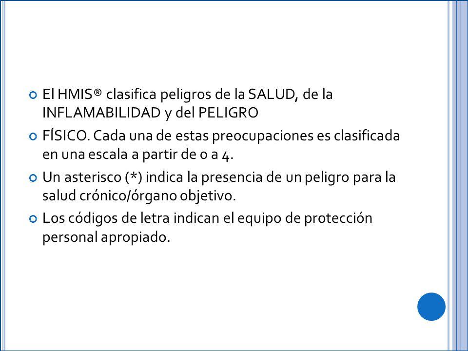 El HMIS® clasifica peligros de la SALUD, de la INFLAMABILIDAD y del PELIGRO
