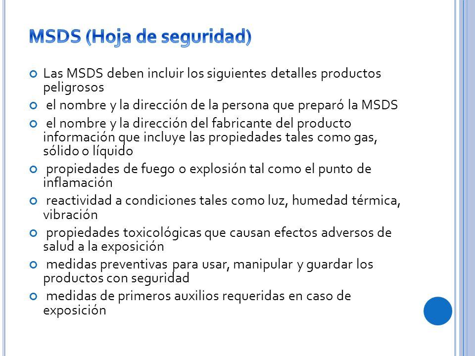 MSDS (Hoja de seguridad)