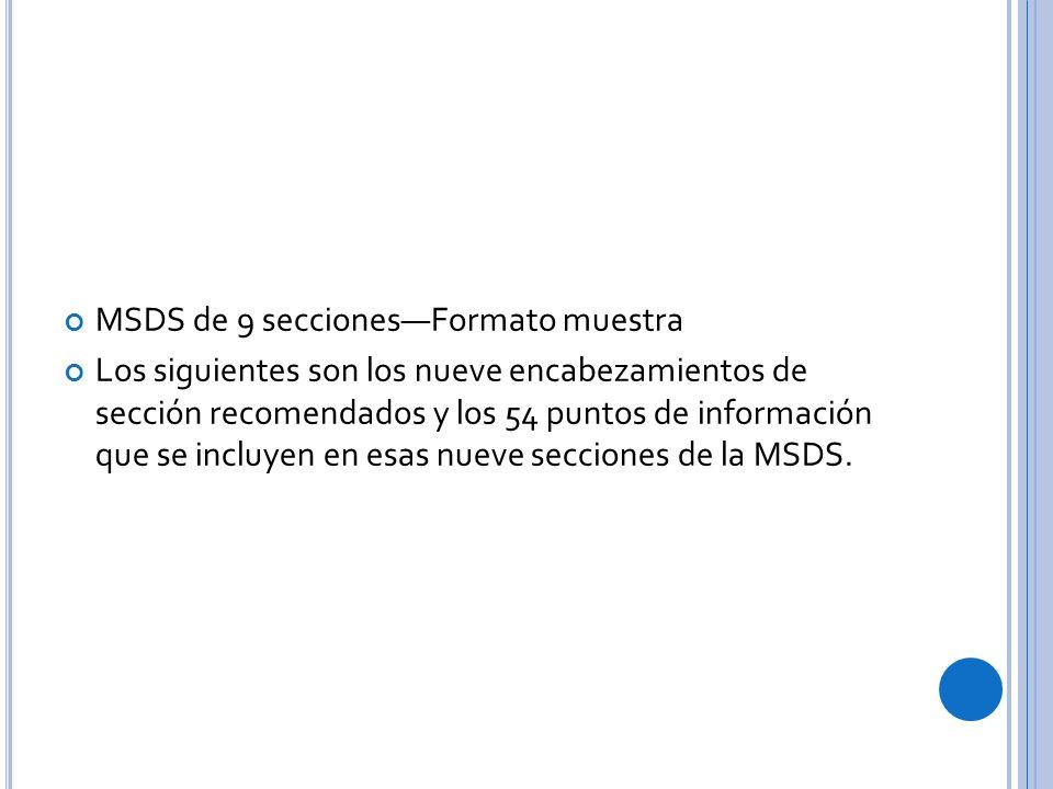 MSDS de 9 secciones—Formato muestra