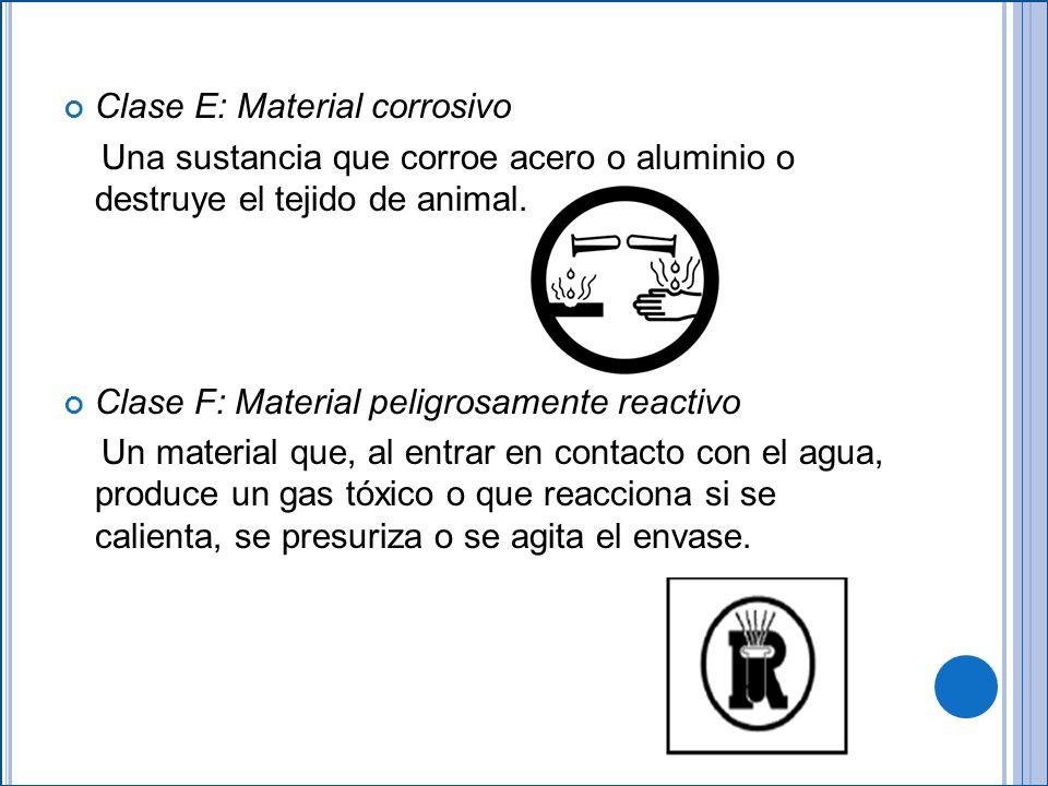 Clase E: Material corrosivo