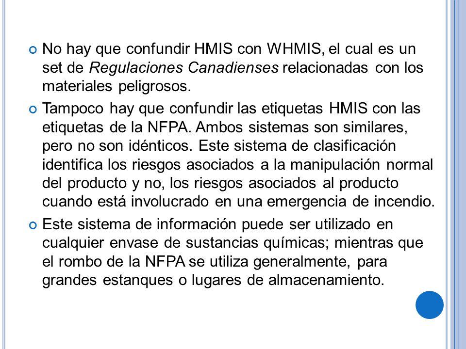 No hay que confundir HMIS con WHMIS, el cual es un set de Regulaciones Canadienses relacionadas con los materiales peligrosos.