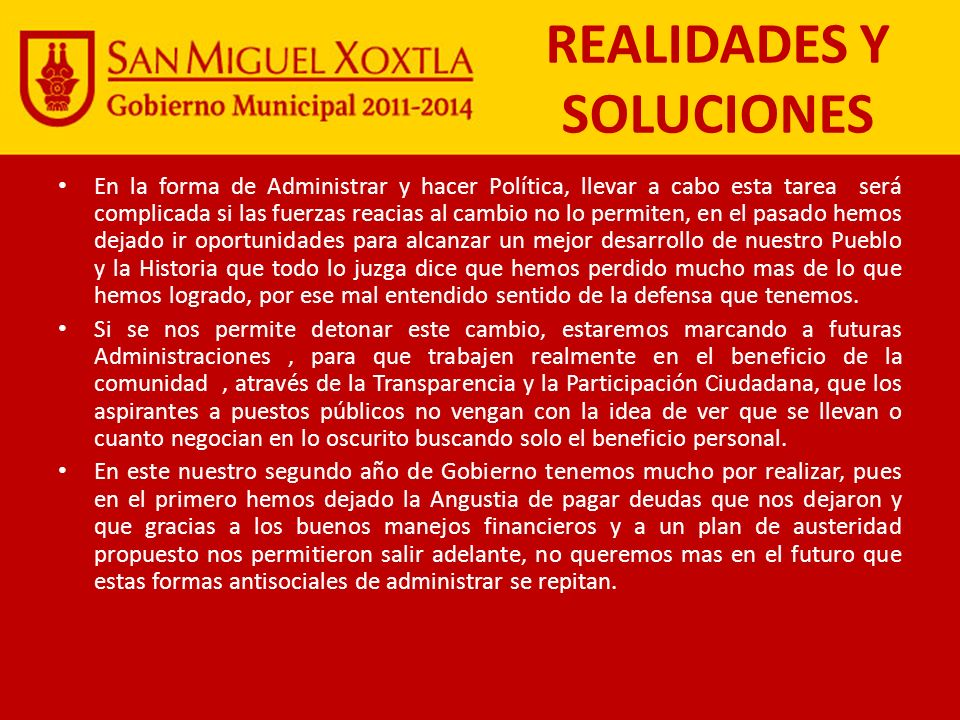 REALIDADES Y SOLUCIONES