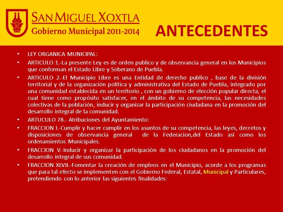 ANTECEDENTES LEY ORGANICA MUNICIPAL: