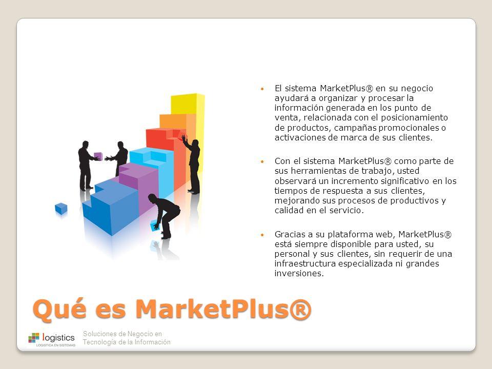 El sistema MarketPlus® en su negocio ayudará a organizar y procesar la información generada en los punto de venta, relacionada con el posicionamiento de productos, campañas promocionales o activaciones de marca de sus clientes.