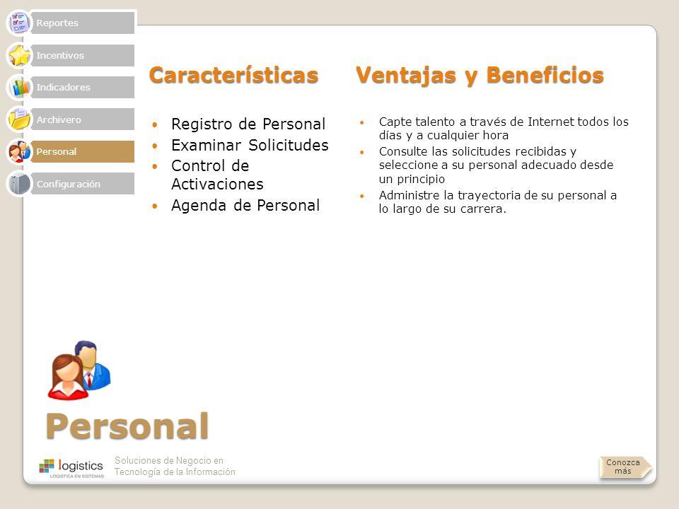 Personal Características Ventajas y Beneficios Registro de Personal