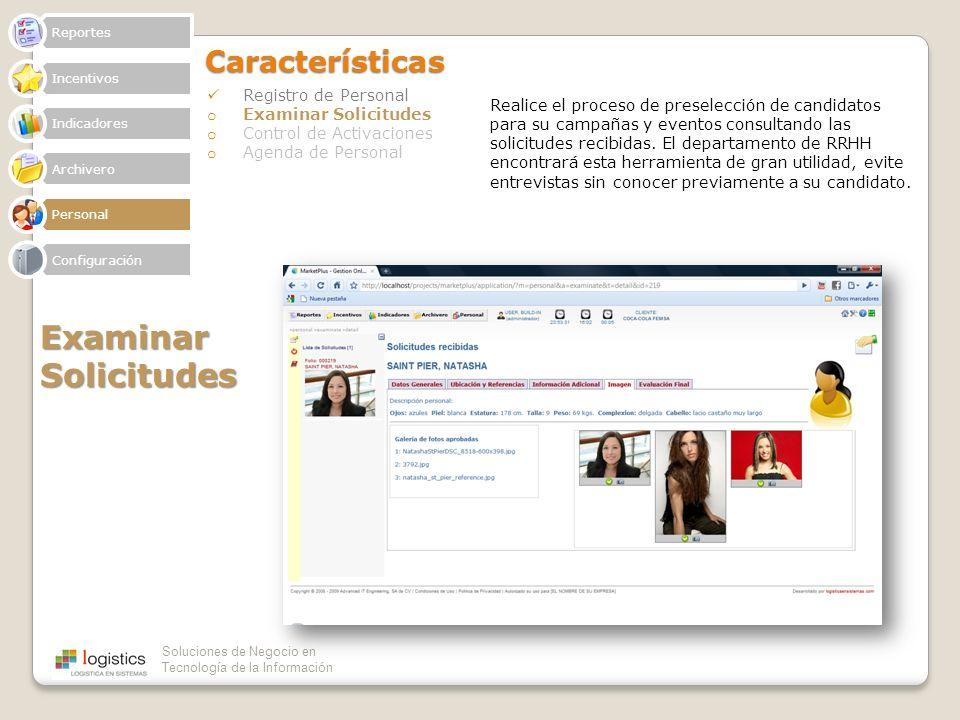 Examinar Solicitudes Características Registro de Personal