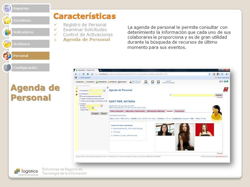 Agenda de Personal Características Registro de Personal