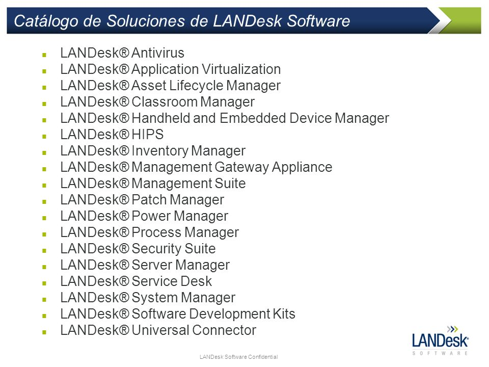Catálogo de Soluciones de LANDesk Software