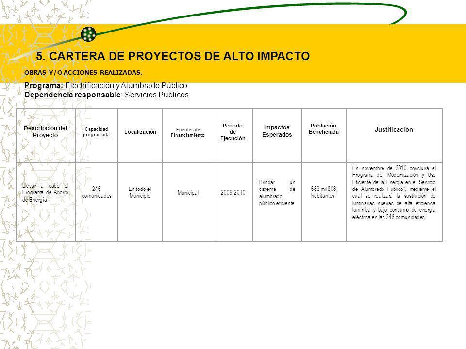 5. CARTERA DE PROYECTOS DE ALTO IMPACTO