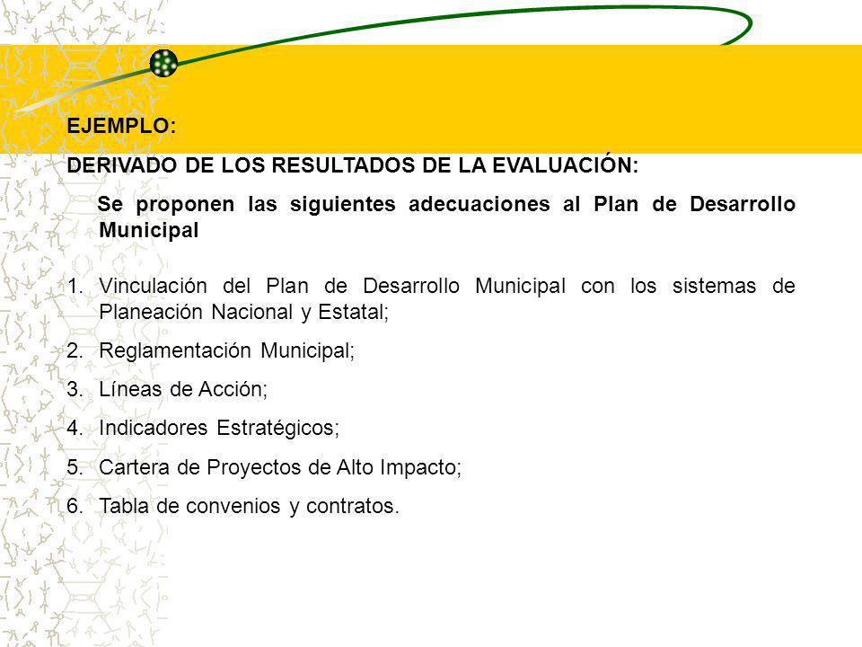 EJEMPLO: DERIVADO DE LOS RESULTADOS DE LA EVALUACIÓN: Se proponen las siguientes adecuaciones al Plan de Desarrollo Municipal.