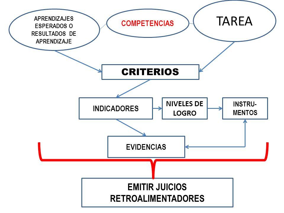 TAREA CRITERIOS EMITIR JUICIOS RETROALIMENTADORES COMPETENCIAS