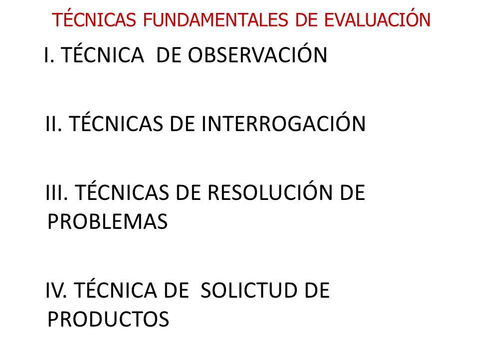 TÉCNICAS FUNDAMENTALES DE EVALUACIÓN