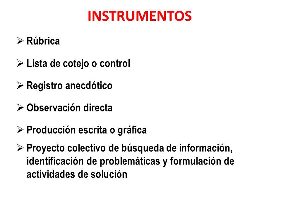 INSTRUMENTOS Rúbrica Lista de cotejo o control Registro anecdótico