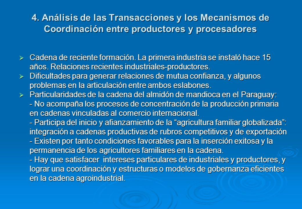 4. Análisis de las Transacciones y los Mecanismos de Coordinación entre productores y procesadores