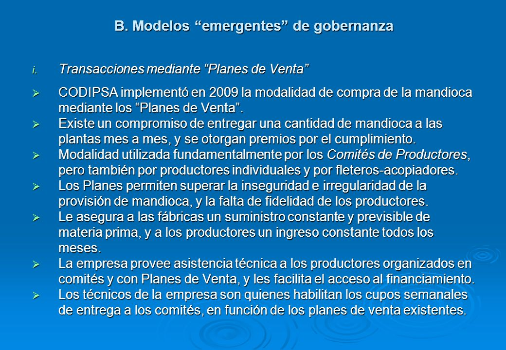 B. Modelos emergentes de gobernanza