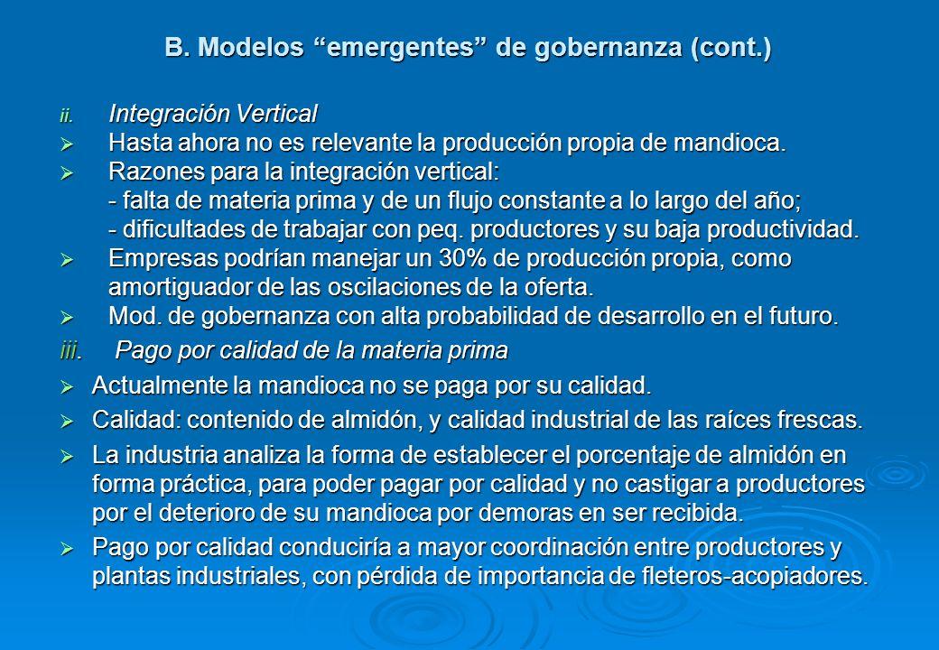 B. Modelos emergentes de gobernanza (cont.)