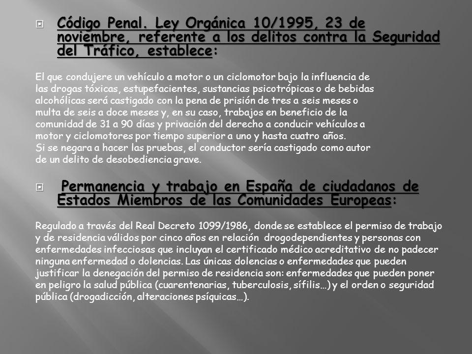 Código Penal. Ley Orgánica 10/1995, 23 de noviembre, referente a los delitos contra la Seguridad del Tráfico, establece: