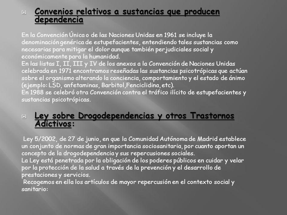 Convenios relativos a sustancias que producen dependencia
