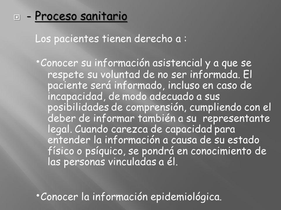 - Proceso sanitario Los pacientes tienen derecho a : •Conocer su información asistencial y a que se respete su voluntad de no ser informada.