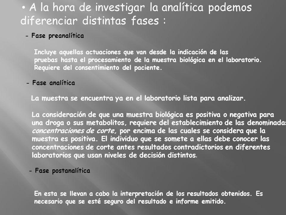 • A la hora de investigar la analítica podemos diferenciar distintas fases : - Fase preanalítica Incluye aquellas actuaciones que van desde la indicación de las pruebas hasta el procesamiento de la muestra biológica en el laboratorio.