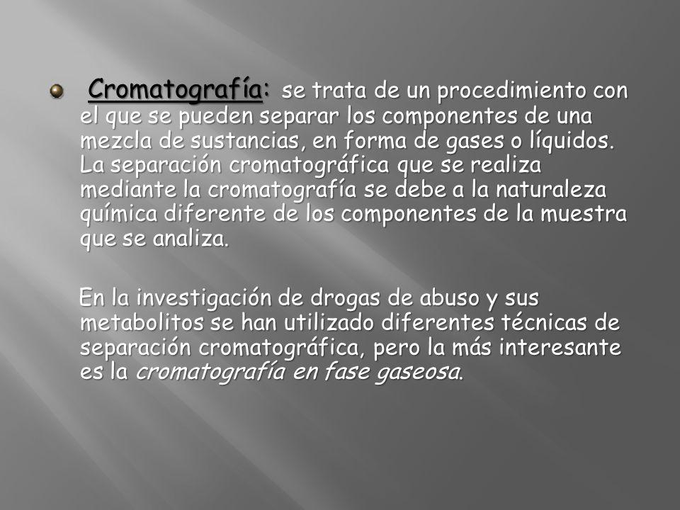 Cromatografía: se trata de un procedimiento con el que se pueden separar los componentes de una mezcla de sustancias, en forma de gases o líquidos. La separación cromatográfica que se realiza mediante la cromatografía se debe a la naturaleza química diferente de los componentes de la muestra que se analiza.