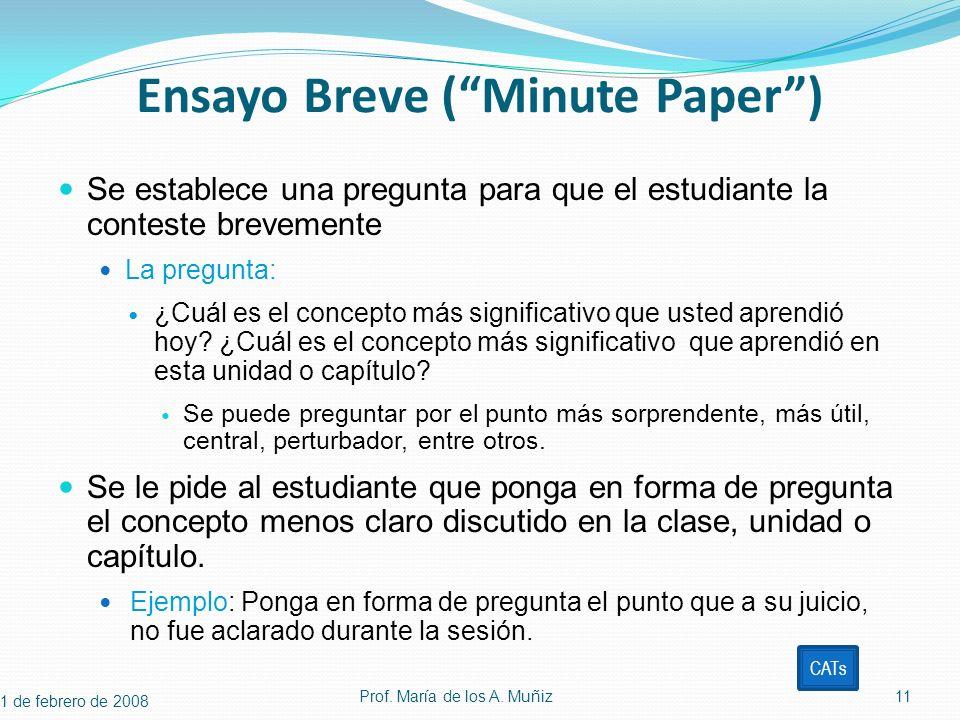 Ensayo Breve ( Minute Paper )