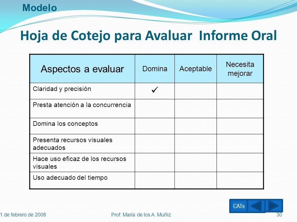 Hoja de Cotejo para Avaluar Informe Oral