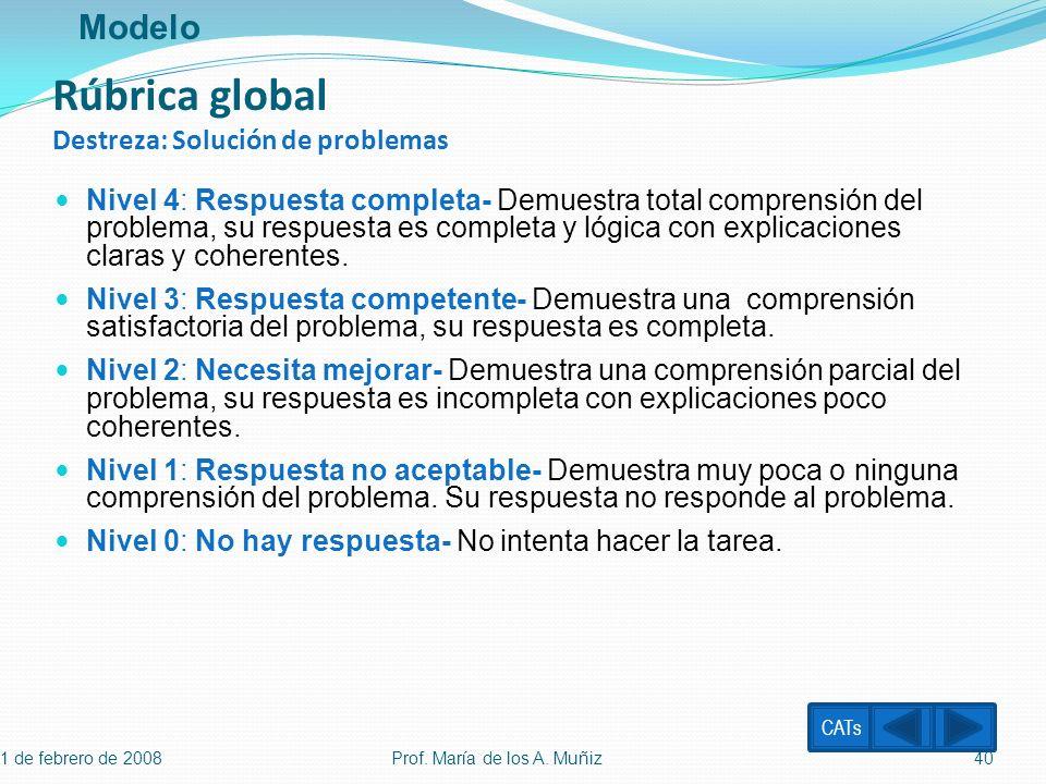Rúbrica global Destreza: Solución de problemas
