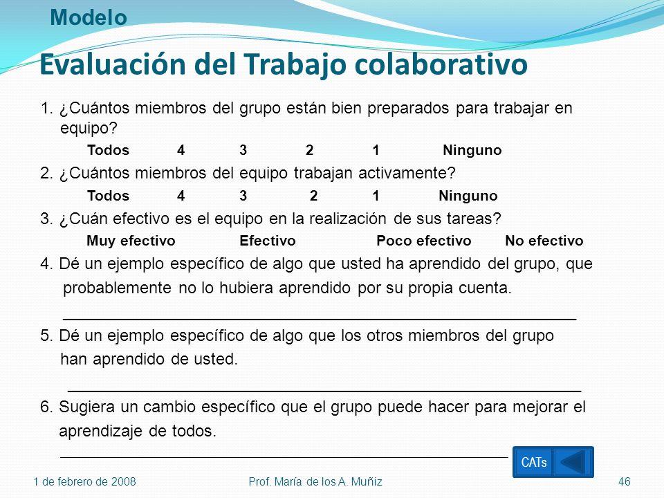 Evaluación del Trabajo colaborativo