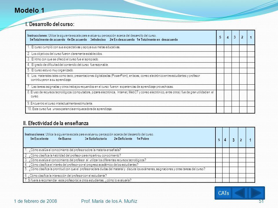 Modelo 1 I. Desarrollo del curso: II. Efectividad de la enseñanza CATs