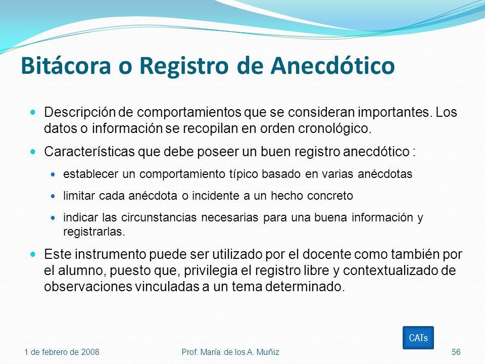 Bitácora o Registro de Anecdótico