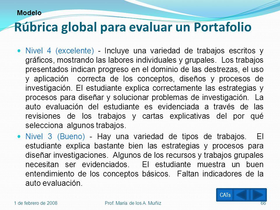 Rúbrica global para evaluar un Portafolio