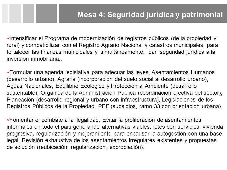 Mesa 4: Seguridad jurídica y patrimonial