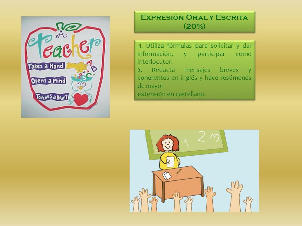 Expresión Oral y Escrita (20%)