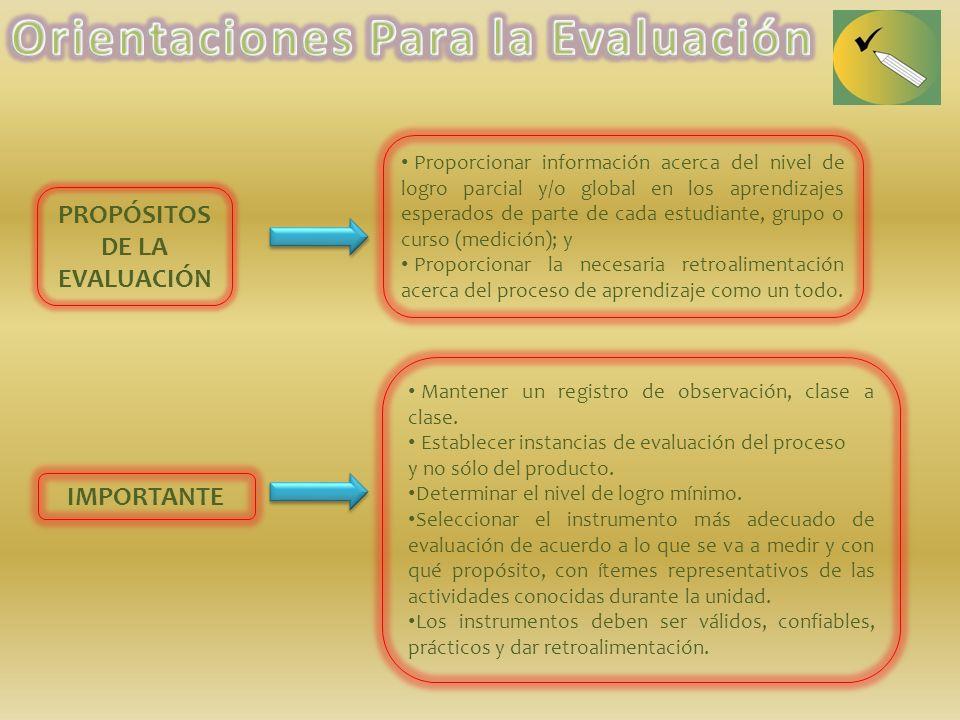 Orientaciones Para la Evaluación PROPÓSITOS DE LA EVALUACIÓN