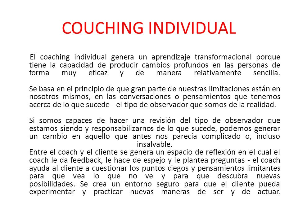 COUCHING INDIVIDUAL