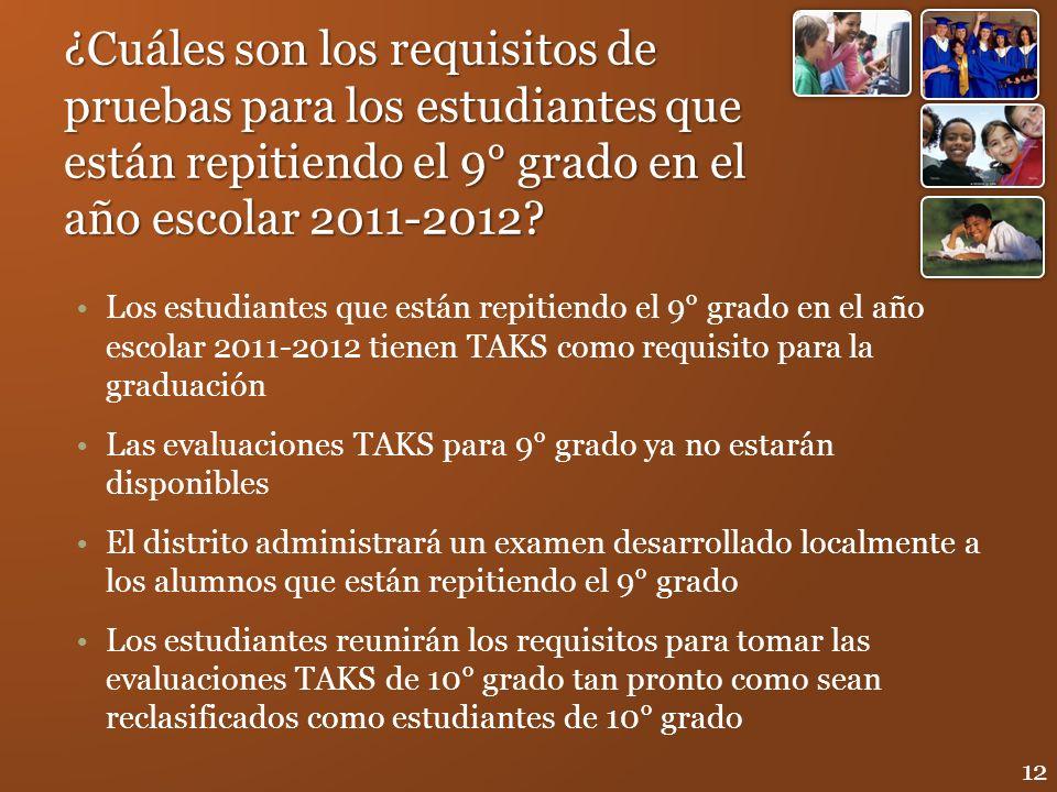 ¿Cuáles son los requisitos de pruebas para los estudiantes que están repitiendo el 9° grado en el año escolar 2011-2012