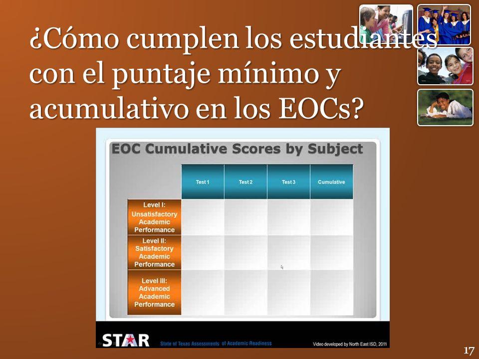 ¿Cómo cumplen los estudiantes con el puntaje mínimo y acumulativo en los EOCs