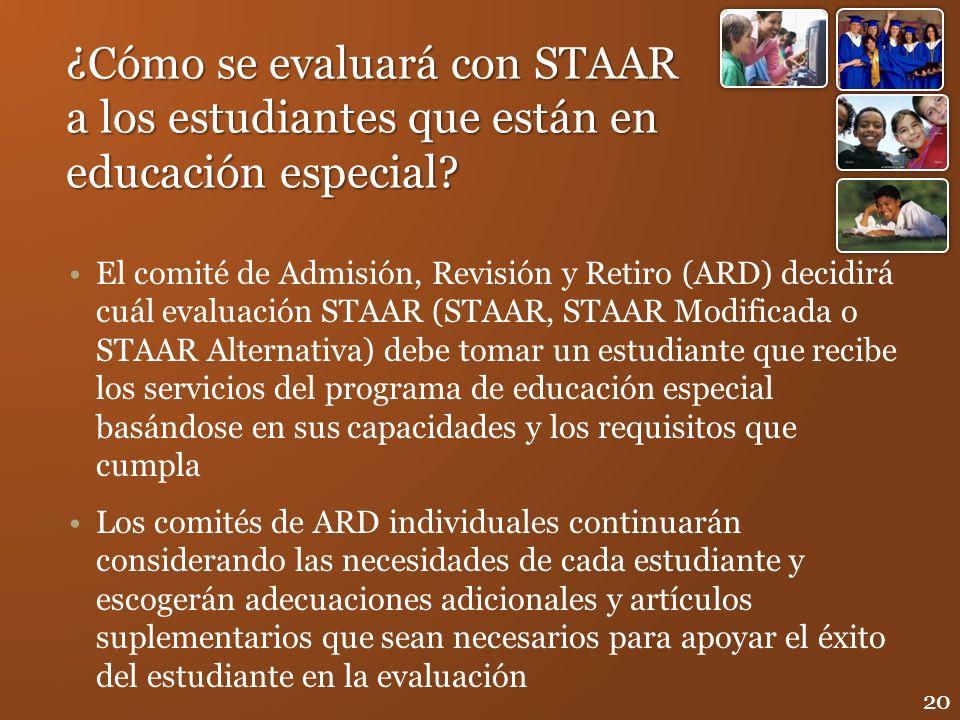 ¿Cómo se evaluará con STAAR a los estudiantes que están en educación especial