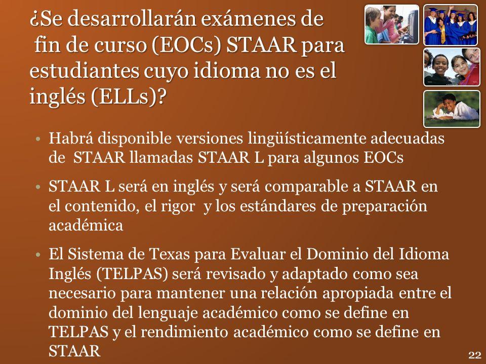 ¿Se desarrollarán exámenes de fin de curso (EOCs) STAAR para estudiantes cuyo idioma no es el inglés (ELLs)