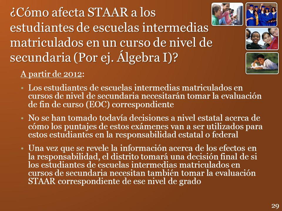 ¿Cómo afecta STAAR a los estudiantes de escuelas intermedias matriculados en un curso de nivel de secundaria (Por ej. Álgebra I)