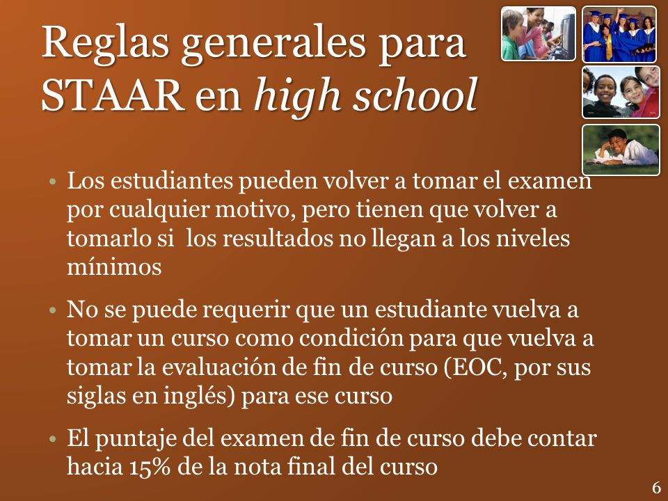 Reglas generales para STAAR en high school